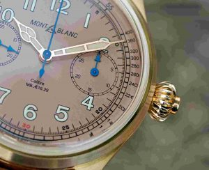 Replica Uhren Montblanc 1858 Chronograph Tachymeter Bronze Salmon Dial