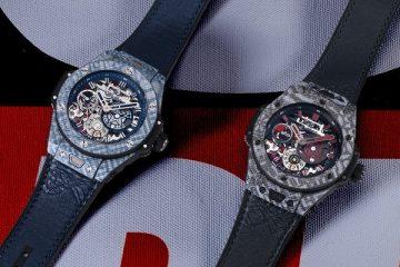 Replica Uhren Hublot Big Bang Meca-10 Shepard Fairey Kohlefaser Blaues oder graues Zifferblatt Limitierte Auflage