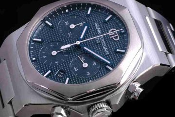 Baselworld 2018 Replica Uhren Girard-Perregaux Laureato Chronographen Blaues Zifferblatt Edelstahl und Rotgold