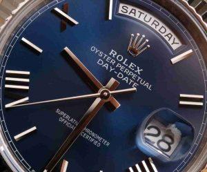Oyster Perpetual Replica Uhren Rolex Day-Date 40 Präsident Blaues Zifferblatt 18 Karat Weißgold Rezension