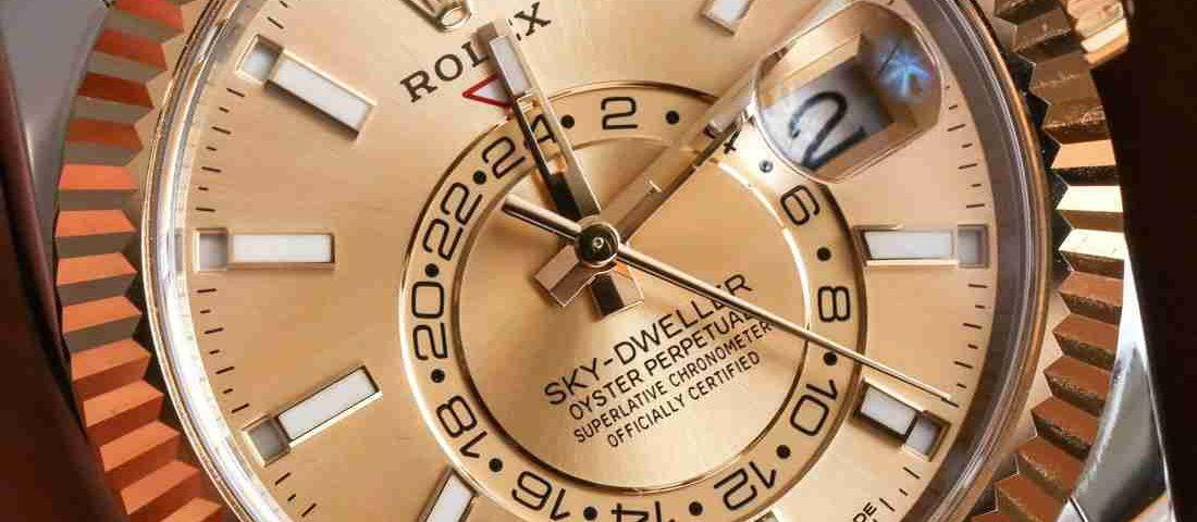 Replica Uhren Rolex Sky-Dweller Oyster Perpetual Champagner Zifferblatt Gelbgold 42mm
