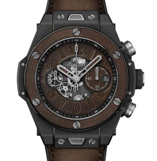Die Replik der Uhren Hublot Urknall Unico Berluti Kaltbraune Keramik 1