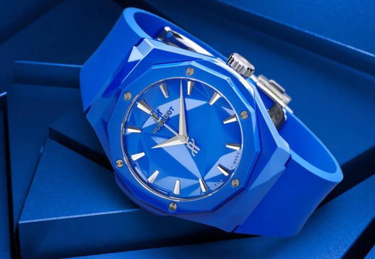 Replik Uhren Hublot Classic Fusion Orlinski Schwarzes blaues Zifferblatt Keramik 40mm 2